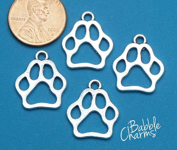 12 pc Paw Print charm, paw print, pet charm, alloy charm 20mm very high quality..Perfect for jewery making and other DIY projects