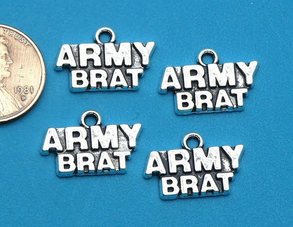12 pc Army Brat charm, army brat, military brat charm. Alloy charm, very high quality.Perfect for jewery making and other DIY projects