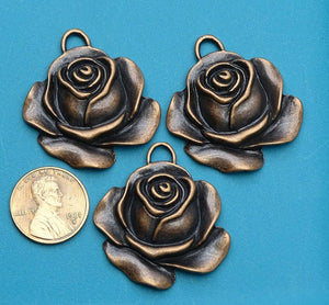 Flower Pendant, Flower, charm, Rose charm, pendant, Alloy charm ,high quality.Perfect for jewery making and other DIY projects
