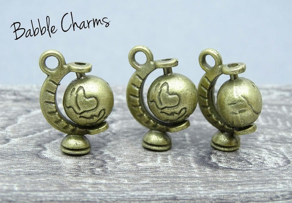 Globe charm, globe charms. Alloy charm, very high quality.Perfect for jewery making and other DIY projects