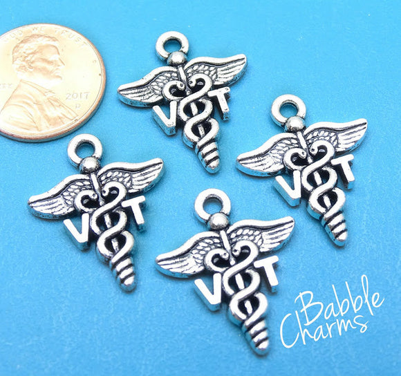 12 pc VT charm, VT, Vet Tech, Veterinarian Technician, VT Charms, wholesale charm, alloy charm