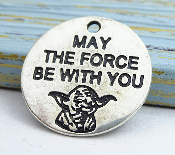 Jedi charm, May the force be with you, force charm, Alloy charm 20mm high quality. Perfect for jewery making and other DIY projects
