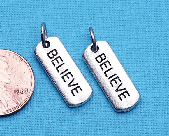 12 pc Believe charm, believe, believe charms, Charms, wholesale charm, alloy charm