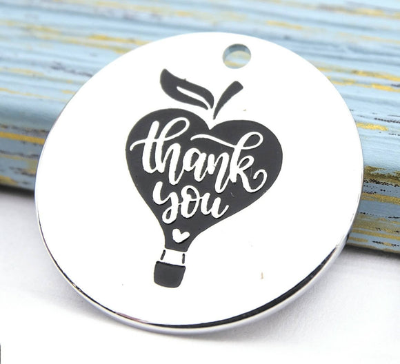Thank you charm, teacher charm, teacher, apple, apples. Alloy charm 20mm high quality. Perfect for jewery making and other DIY project #157