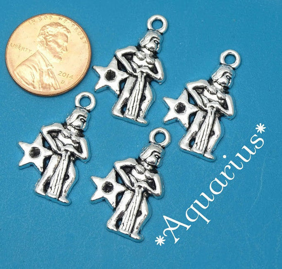 12 pc Aquarius charm, Aquarius, astrological, zodiac, alloy charm 20mm very high quality.Perfect for jewery making and other DIY projects