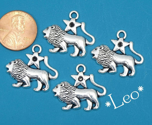 12 pc Leo charm, lion, astrological charm, zodiac, alloy charm 20mm very high quality.Perfect for jewery making and other DIY projects