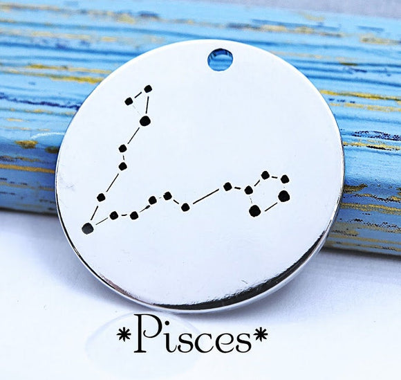 Pisces charm, constellation, astrology charm, Alloy charm 20mm very high quality..Perfect for DIY projects