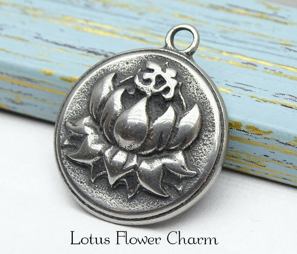Lotus , Lotus Flower charm, flower charms. Stainless steel charm ,very high quality.Perfect for jewery making and other DIY projects