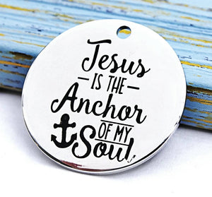 Jesus is the anchor of my soul charm, anchor charm, Jesus, Alloy charm 20mm high quality. Perfect for jewery making & other DIY project #46