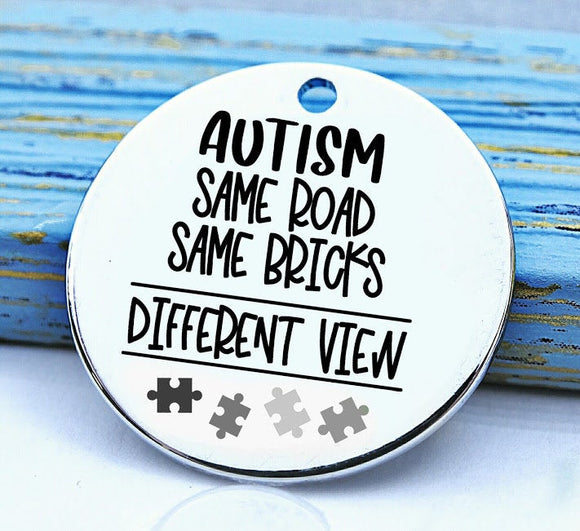 Autism, autism mom, autism charm, stainless steel charm 20mm very high quality..Perfect for DIY projects