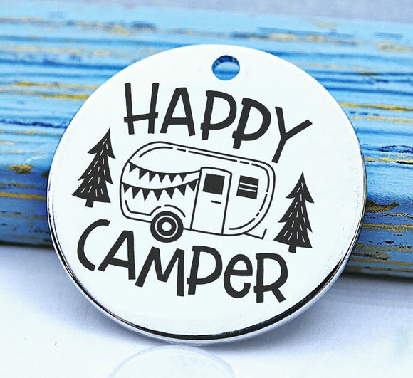 Happy Camper, camping happy camper charm, Steel charm 20mm very high quality..Perfect for DIY projects