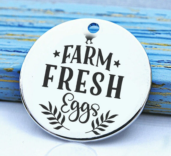 Farm fresh eggs, Farm fresh eggs charm, farm charm, Steel charm 20mm very high quality..Perfect for DIY projects