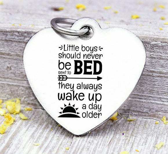 Little boys should never be sent to bed, peter pan, peter pan charm, Steel charm 20mm very high quality..Perfect for DIY projects