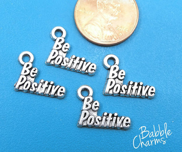 12 pc Be Positive charm , be positive, positivity charm, Charm, Charms, wholesale charm, alloy charm