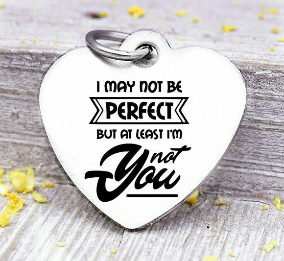 I may not be perfect, not you, not perfect, humor, Steel charm 20mm very high quality..Perfect for DIY projects
