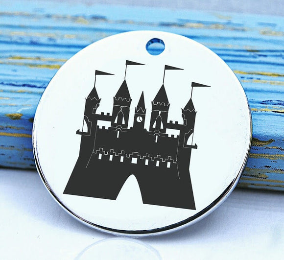 Castle, castle charm, king, queen, castles charm, Steel charm 20mm very high quality..Perfect for DIY projects