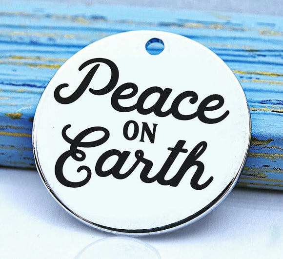 Peace on Earth, happy holidays charm, christmas, christmas charm, Steel charm 20mm very high quality..Perfect for DIY projects
