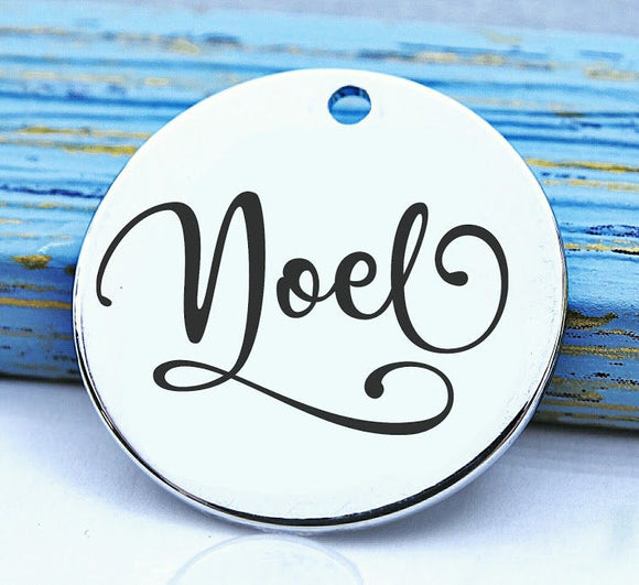 Noel, noel charm, peace on earth, christmas charm, Steel charm 20mm very high quality..Perfect for DIY projects