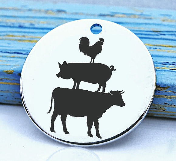 Farm animal charm, farm animal, cow, pig, chicken, Steel charm 20mm very high quality..Perfect for DIY projects