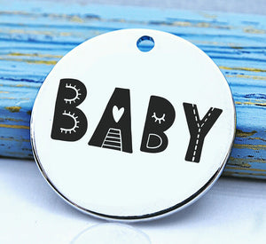 Baby, charm, family, family charm, Steel charm 20mm very high quality..Perfect for DIY projects