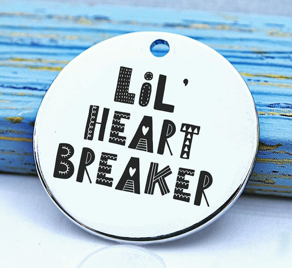 Heart Breaker, lil heart breacker charm, Steel charm 20mm very high quality..Perfect for DIY projects