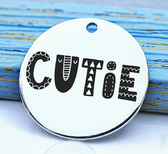 Cutie, cute, cutie charm, love charm, Steel charm 20mm very high quality..Perfect for DIY projects