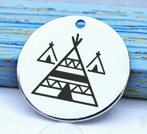 Native American, native american, american indian, indian charm, teepee, Steel charm 20mm very high quality..Perfect for DIY projects