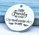Every family has a story, family charm, Steel charm 20mm very high quality..Perfect for DIY projects