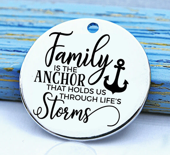 Family, family is an anchor charm, Steel charm 20mm very high quality..Perfect for DIY projects