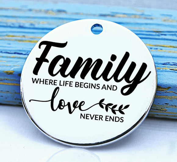 Family, family charm, Steel charm 20mm very high quality..Perfect for DIY projects
