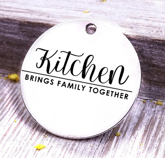 Kitchen brings family together, baking, cooking, baking charm, baker charm, Steel charm 20mm very high quality..Perfect for DIY projects