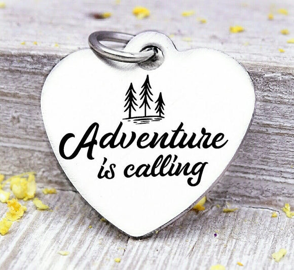 Adventure is calling, adventure, adventure charms, Steel charm 20mm very high quality..Perfect for DIY projects