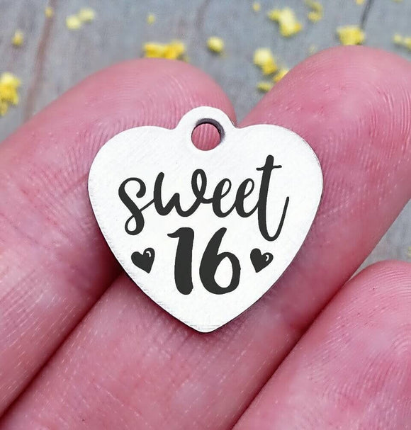 Sweet 16, 16, birthday, teen sweet 16 charm, Steel charm 20mm very high quality..Perfect for DIY projects