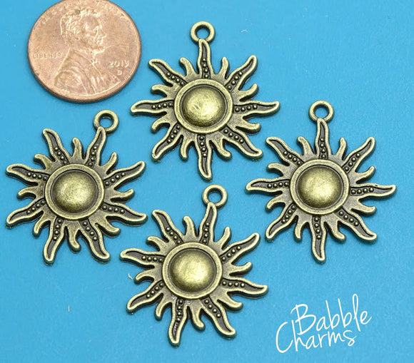 12 pc Sun, bronze sun,sun charm. Alloy charm ,very high quality.Perfect for jewery making and other DIY projects