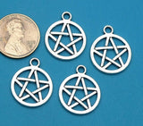 12 pc Pentagram, pentagram charm, wiccan, wiccan charms. Alloy charm, very high quality.Perfect for jewery making and other DIY projects