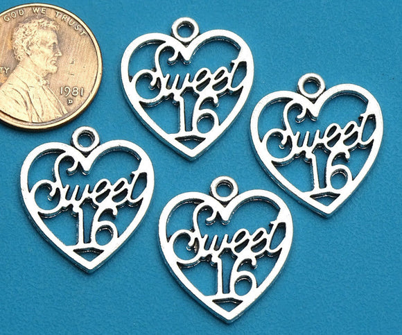 12 pc Sweet 16 charm , sweet 16, number charm charm, 16 charm, Charm, Charms, wholesale charm, alloy charm