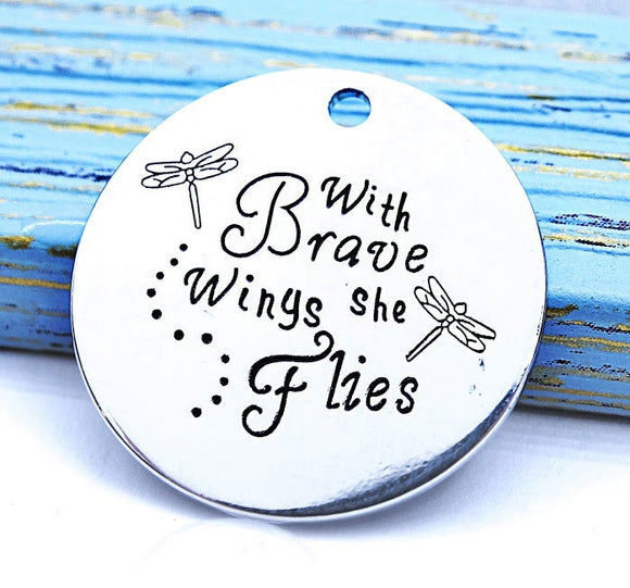 With Brave wings she flies, she is brave charm, Alloy charm 20mm high quality.Perfect for jewery making & other DIY projects