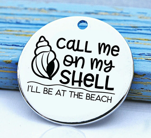 Beach, Shell charm, shell, Beach please, beach charm, Steel charm 20mm very high quality..Perfect for DIY projects