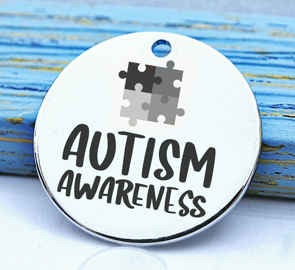Autism, autism awareness, autism charm, stainless steel charm 20mm very high quality..Perfect for DIY projects