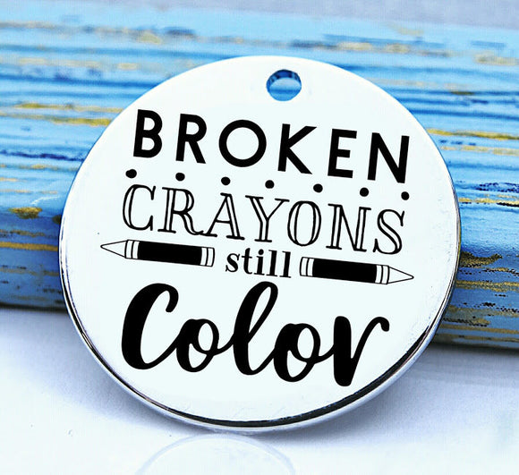 Broken Crayons still color, crayons, crayon, color, crayon charm, Steel charm 20mm very high quality..Perfect for DIY projects