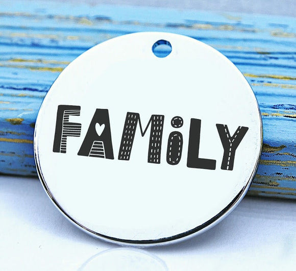 Family, charm, family, family charm, Steel charm 20mm very high quality..Perfect for DIY projects