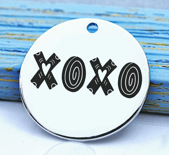 Hugs and kisses, XOXO, XOXO charm, love charm, Steel charm 20mm very high quality..Perfect for DIY projects