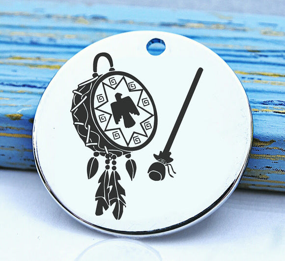 Native American, native american, american indian, indian charm, Steel charm 20mm very high quality..Perfect for DIY projects