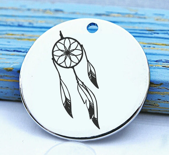 Native American, native american, american indian, indian charm, dreamcatcher, Steel charm 20mm very high quality..Perfect for DIY projects