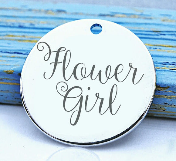 Flower girl, flower girl charm, flower, wedding , bridal charm, Steel charm 20mm very high quality..Perfect for DIY projects