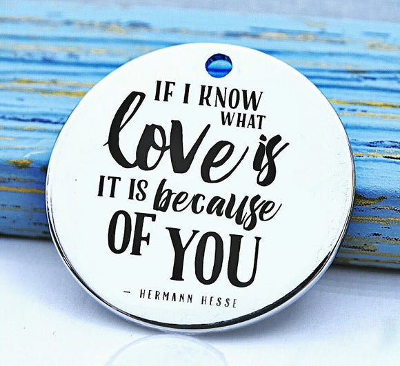 Love, I know what love is because of you, love charm, Steel charm 20mm very high quality..Perfect for DIY projects