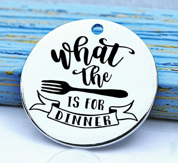 What the fork is for dinner, cooking, baking charm, baker charm, Steel charm 20mm very high quality..Perfect for DIY projects