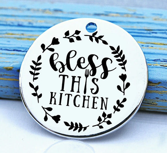 Bless this kitchen, baking, cooking, baking charm, baker charm, Steel charm 20mm very high quality..Perfect for DIY projects