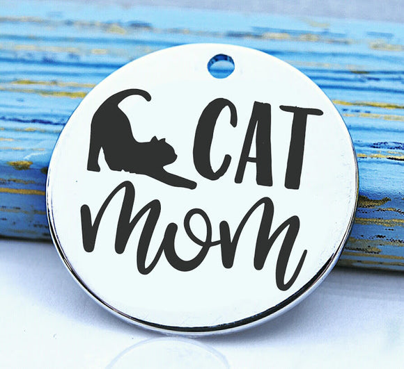 Cat mom, cats, cat mom charm, Steel charm 20mm very high quality..Perfect for DIY projects