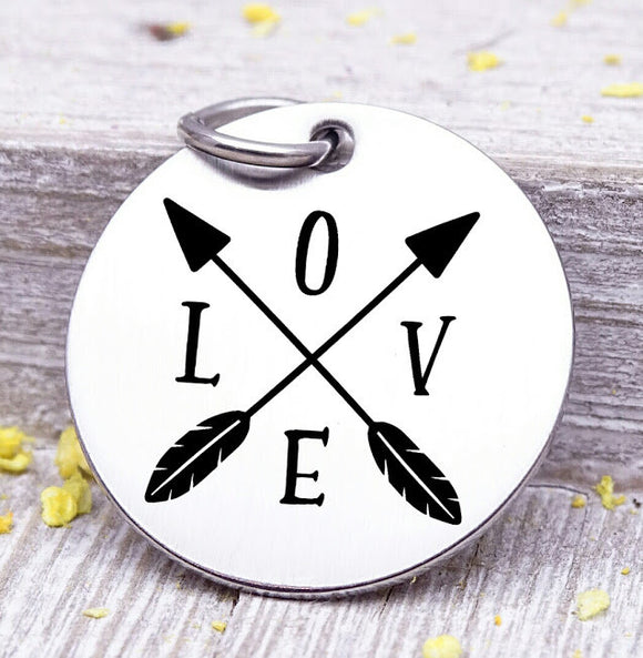 Love, Love charm, arrows, boho, arrow charm, Steel charm 20mm very high quality..Perfect for DIY projects